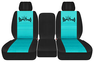 Front Truck Seat Covers Blk turquoise W mountain Fits Dodge Ram11 2018 1500 2500