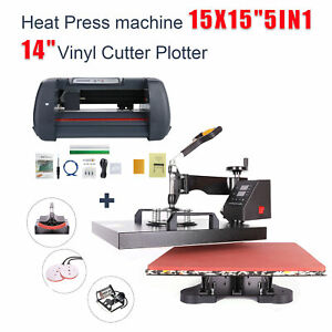 5in1 Heat Press 15 x15 14 Vinyl Cutter Plotter Business Printer Sublimation