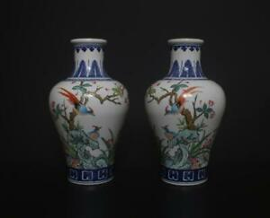 Pair Antique Chinese Famille Rose Vases Qianlong Mark Flower Bird