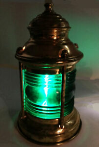 Ships Lantern Lamp Converted Ships Lamp Starboard Green Glass And Brass