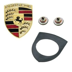 For Porsche 911 Boxster Cayenne Front Logo Sign Hood Crest Emblem Kit Genuine