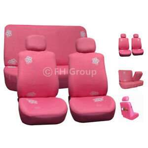 Pink Floral Design Full Seat Seat Covers For Auto Car Suv Van Universal Fit