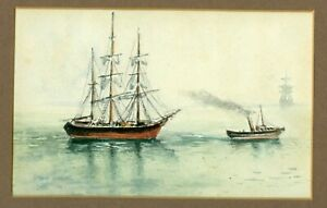 Antique Watercolor Of Tall Ships And Steam Boat Folk Art