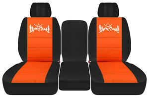 Front Truck Seat Covers Black Orange W Mountain Fits Dodge Ram 2011 2018 1500