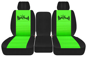 Front Truck Seat Covers Blk Lime Green W Mountain Fits Dodge Ram 2011 2018 1500