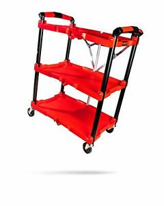 Adam S Foldable Detail Cart Organizer For Tools Rolling Toolbox Durable Red