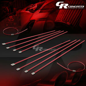X10 12 300mm Stainless Red Zip Tie Cable Turbo Exhaust Header Manifold Pipe