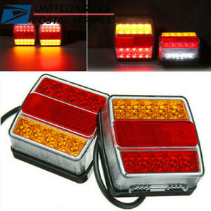 2x Boat Marker Truck Rear Waterproof Submersible Trailer Tail Lights Kit 16 Led