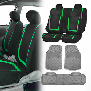 Suv Car Truck Seat Covers Combo Set With Gray All Weather Mats Green