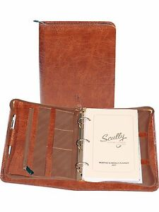 Scully Leather 8053z Brown Antique Calf 3 ring Planner