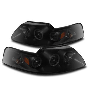 1999 2004 Ford Mustang Black Smoke Set Dual Led Halo Projector Drl Headlight New
