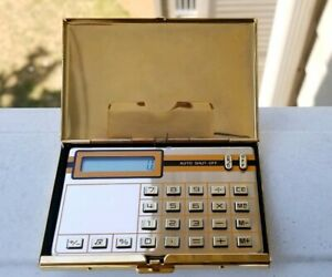 Rare Vintage Gold Pocket Calculator With Business Card Holder