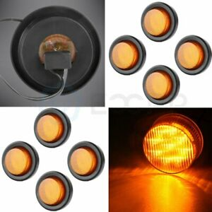 8x 2 Inch Amber Round Side Marker Light 9 Led Trailer Truck Clearance Tail Turn