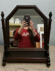 Vintage Vanity Dresser Swivel Barber Tilt Mirror Wood Cherry Mahogany