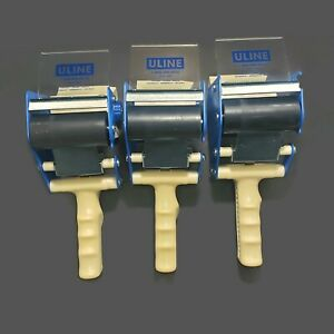 Lot Of 3 Uline H 596 Packing Tape Dispenser Guns 3 inch Side Load Blue White