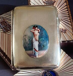 Sterling Silver Cigarette Case Decorated With Faux Enamel Medallion