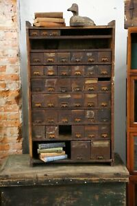 Antique 1900s Apothecary Cabinet 40 Drawers Hardware Store Nut Bolt Wood Cubby
