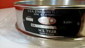Tyler Usa Standard Test Sieve Item 5198 8 Fh ss ss us 18 1mm 0394 Inch