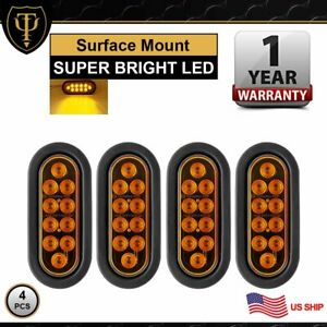 4x 10 Led 6 Oval Amber Kits Wire Turn Indicator Tail Light Trailer Truck Atv Us
