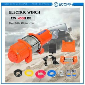 Eccpp 12v 4500lbs Electric Winch Steel Cable Truck Trailer Towing Off Road 4wd