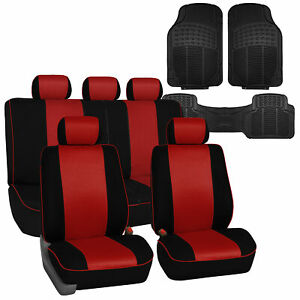 Stylish Edgy Piping Full Set Fabric Seat Covers W Black Floor Mats Red Black