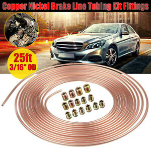 Copper Nickel Car Brake Line Tubing Kit 3 16 25 Ft Coil Rolls With 16 Fittings