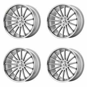4x Asanti 24x9 Abl 24 Beta Wheels Brushed Silver Chrome 5x120 32mm Offset 6 26