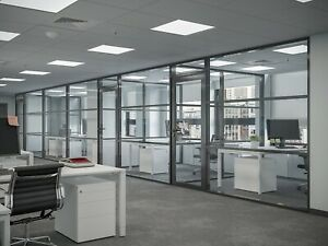 Cgp Office Partition System Glass Aluminum Wall 18 X 9 W door Black Color