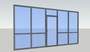 Cgp Office Partition System Glass Aluminum Wall 16 X 9 W Door Clear Anodized