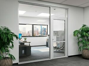 Cgp Office Partition System Glass Aluminum Wall 18 X 9 W Door Clear Anodized