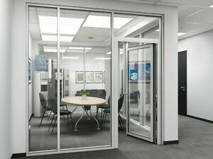 Cgp Office Partition System Glass Aluminum Wall 19 X 9 W Door Clear Anodized