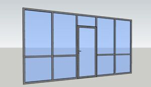 Cgp Office Partition System Glass Aluminum Wall 13 X 9 W Door Clear Anodized