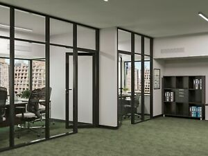 Cgp Office Partition System Glass Aluminum Wall 14 X 9 W door Black Color