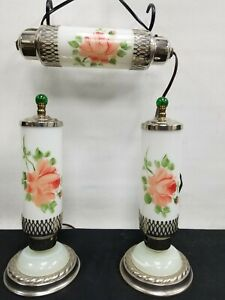 Vtg Art Deco Rose Glass Torpedo Skyscraper Bullet Lamps Boudoir Vanity Headboard