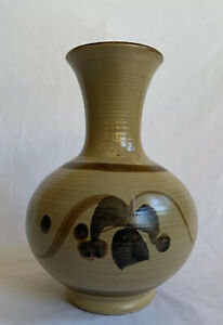 Pacific Stoneware 1972 RINGED VASE Signed B. Welsh Oregon Art Pottery 8quot; Tall