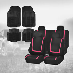 Black Pink Car Seat Covers With Black Floor Mats Combo For Auto Car Suv