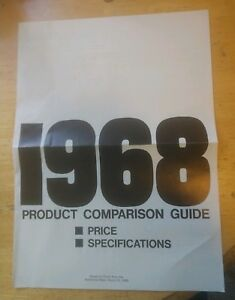 Vintage 1968 Chevrolet Product Compare Guide March 68 Chevy Specifications