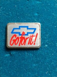 Vintage Chevrolet Go For It Pinback Tie Tac Hat Pin Chevy