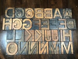Antique Wood Letterpress Printing Press Type Block Letters Typeset 30 Piece A o