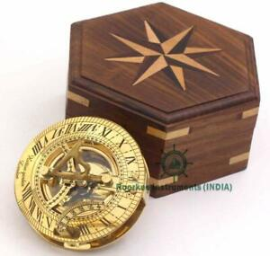 Ideas For Men Vintage Shinny Brass Sundial Compass With Wooden Box For Camping