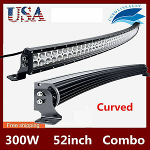 52 Inch 300w Led Curved Work Light Bar Flood Spot Combo Offroad Suv Atv For Hx