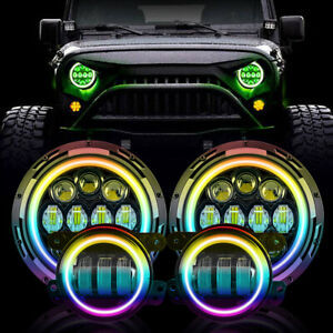 Muti Color 7 Rgb Led Halo Headlights Fog Light Combo Kit For Jeep Wrangler Jk