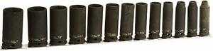 13 piece 3 8 Drive Deep 6 Point Impact Socket Set On Clip Rail Williams 36905