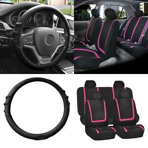 Cloth Seat Covers Full Set Pink W black Silicone Steering Wheel Cover