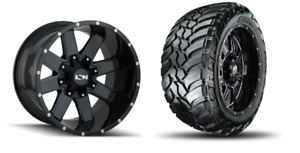 20x10 19 Ion 141 Gloss Black Wheels 32 Mt Tires Package 8x180 Chevy Gmc Truck