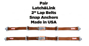 Buggy New Pair 2 Latch Link Seat Belt 2 Point Clip Snap In Lap Belts Copper