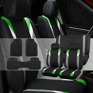 Car Seat Covers Set For Auto Sedan Green W Rubber Floor Mats