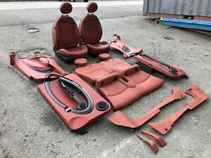 07 13 Mini Cooper R56 Red Lounge Leather Seats Set Real Leather Hatch Back Doors