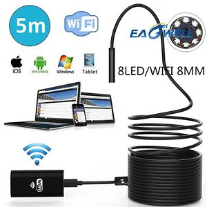 Usa 16ft 8 Led Wifi Endoscope Borescope Inspection Camera For Iphone Android Ios