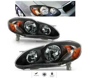 For Toyota Corolla Year 2003 To 2008 Black Headlights Set Headlamps Lights Pair